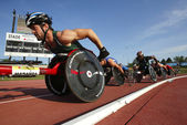 Wheelchair Track Male Athletes Race — Stock Photo