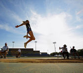 Long Jump Woman Sky Blue — Stock Photo