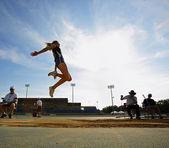 Long Jump Woman Sky Blue — Stock Photo