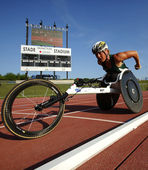 Wheelchair Track Athlete Woman — Stock Photo
