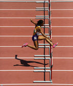 Track Woman Hurdles Run — Stock Photo
