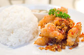 Spicy shrimp and rice — Stock Photo