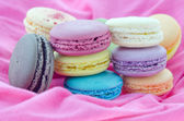 Macaroons on fabric — Stock Photo