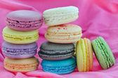 Dessert on pink fabric — Stock Photo