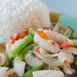 Spicy squid and rice — Stock Photo