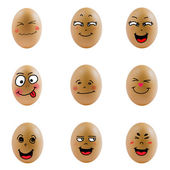 Collection of eggs with happy face — Stockfoto
