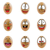 Collection of eggs with happy face — Stock Photo