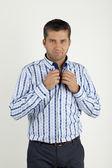 Man in blue shirt — Stock Photo
