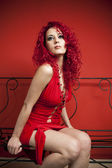 Curly red hair girl — Stock Photo