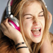 Beautiful Woman Listening Music — Stock Photo