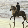 Young men and her horse gallop along the beach — Stock Photo