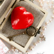 Red heart with key in box — Stock Photo