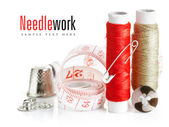 Tools for needlework thread and tape measure — Stock Photo