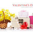 Valentines day concept with gift and flowers — Stock Photo