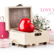 Red heart with key and gift in box — Stock Photo