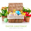 Easter eggs in basket with spring flowers and green leaves — Stock Photo
