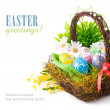 Easter eggs in basket with spring flowers — Stock Photo #21596869