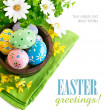 Easter eggs in the pot with flowers — Stock Photo