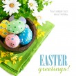 Easter eggs in the pot with flowers — Stock Photo #21940193