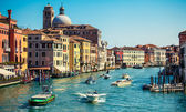 Grand channel with boats in Venice, Italy — Stock Photo
