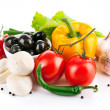 Fresh vegetables with italian cheese mozzarella — Stock Photo