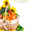 Autumnal harvest vegetables and fruits in basket — Stock Photo