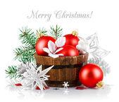Tinsel Natale con palle ramo di abete e rosso — Foto Stock
