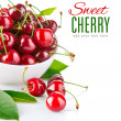 Fresh cherry berries with green leaf — Foto de Stock