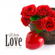 Bouquet red roses with symbol of heart — Stock Photo