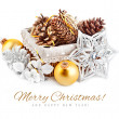 Christmas decoration with pinecone in basket — Stock Photo #34997479