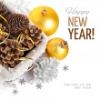 Christmas decoration with pinecone in basket — Stock Photo #35001041