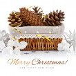 Christmas decoration with pinecone in basket — Foto Stock