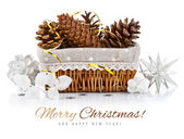 Christmas decoration with pinecone in basket — Stock Photo