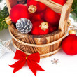 Christmas balls with branch firtree and red bow — Stock Photo