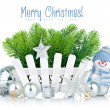 Christmas tree with snowman and silvery balls — Stock Photo #35726785