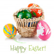 Easter eggs in basket — Stock Photo #38427373