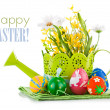 Easter eggs with spring flowers — Stock Photo #38478381