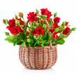 Bouque red roses in bucket — Stock Photo