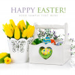 Easter eggs in basket with spring flowers — Stock Photo #41625911