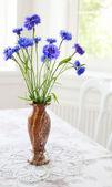 Spring bunch blue flower on table — Stock fotografie