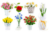 Set bunch of garden flowers — Stock Photo