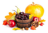 Autumnal harvest fruit and vegetables — Stock Photo