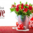 Bunch red roses with gift and heart — Stock Photo #50113705