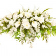 Silk casket cover funeral flower arrangement — Stock Photo #12539598