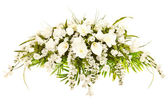Silk casket cover funeral flower arrangement — Stock Photo