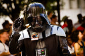 ATLANTA - Sept. 1: A Star Wars fan dressed as Darth Vader marches in the annual DragonCon parade on Sept. 1, 2012. DragonCon bills itself as the largest Sci-Fi convention in the world. — Zdjęcie stockowe