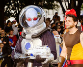 A comic book fan dressed as Mr. Freeze marches in the annual DragonCon parade — Stock Photo