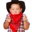 Child dressed up as cowboy playing isolated on white — Foto Stock