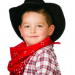 Child dressed up as cowboy playing isolated on white — Stock Photo