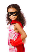 Portrait of pretty mixed race African American girl pretending to be a super hero — Stock Photo